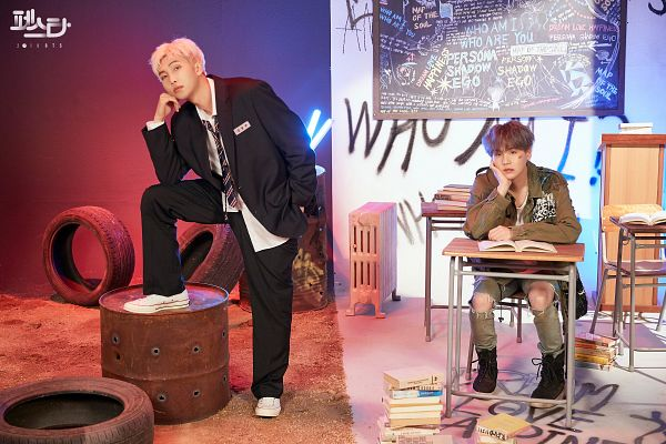 Tags: K-Pop, BTS, Persona (Song), give it to me (Agust D), Suga, Rap Monster, Korean Text, Injury, Black Jacket, Gray Hair, Duo, Ripped Pants