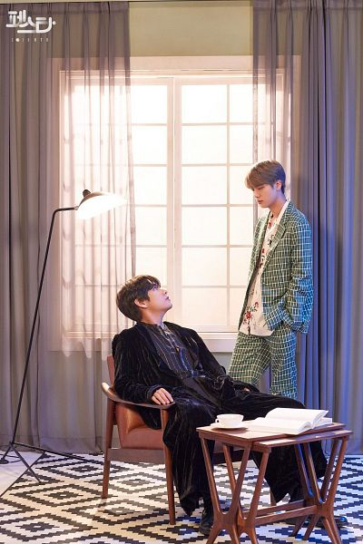 Tags: K-Pop, BTS, Epiphany, Singularity, V (Kim Taehyung), Jin, Book, Duo, Chair, Two Males, Robe, Green Outerwear