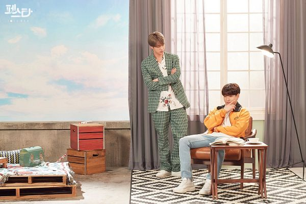 Tags: K-Pop, BTS, Euphoria, Epiphany, Jungkook, Jin, Duo, Green Outerwear, Looking At Another, Two Males, Curtain, Jeans