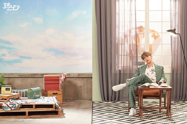 Tags: K-Pop, BTS, Euphoria, Epiphany, Jungkook, Jin, Korean Text, Green Outerwear, English Text, Book, Duo, Jeans