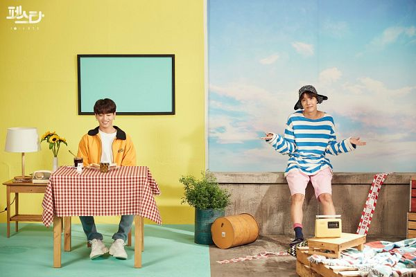 Tags: K-Pop, BTS, Euphoria, Jungkook, J-Hope, Yellow Outerwear, Jeans, Blue Pants, Bread, Striped Shirt, Striped, Hat