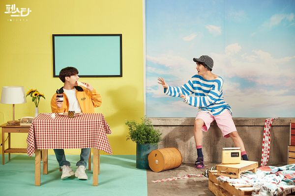 Tags: K-Pop, BTS, Euphoria, Jungkook, J-Hope, Jeans, Blue Pants, Striped Shirt, Eating, Hat, Korean Text, Radio