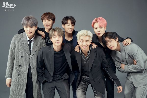 Tags: K-Pop, BTS, V (Kim Taehyung), Rap Monster, Park Jimin, J-Hope, Suga, Jungkook, Jin, Gradient Background, Group, Gray Jacket