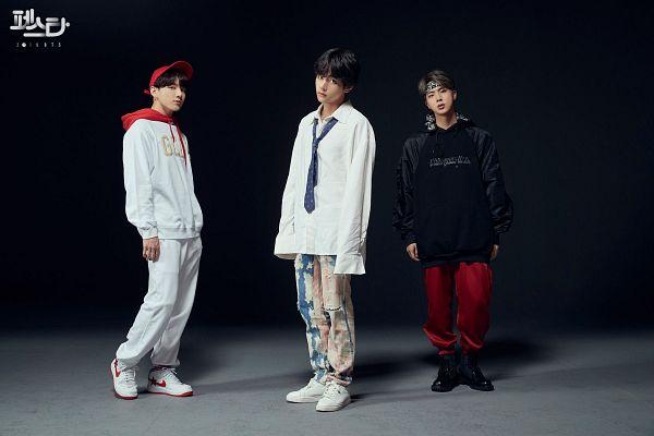 Tags: K-Pop, BTS, Go Go, DNA, MIC Drop, Jungkook, V (Kim Taehyung), Jin, Hairband, Bracelet, Dark Background, Hood