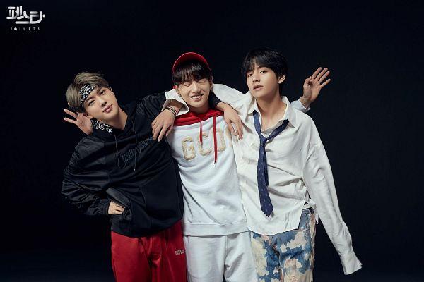 Tags: K-Pop, BTS, Go Go, DNA, MIC Drop, Jungkook, V (Kim Taehyung), Jin, Hairband, Bracelet, Dark Background, Loose Tie