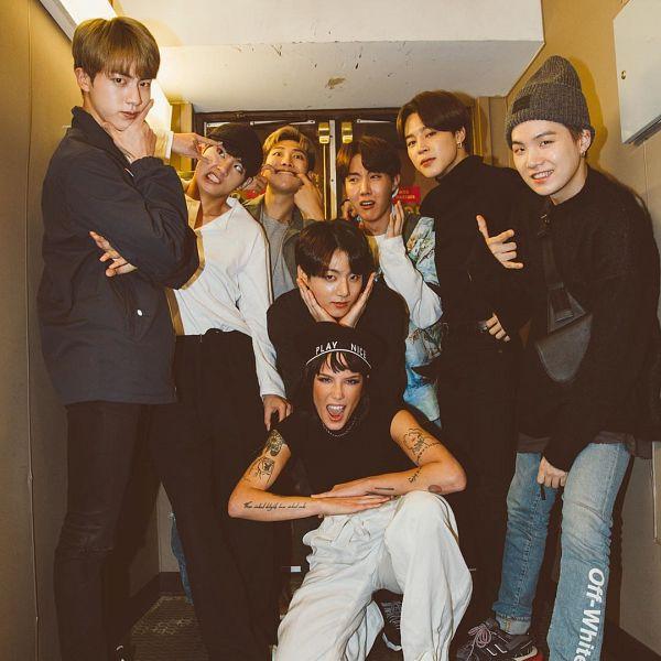Tags: K-Pop, BTS, Jin, V (Kim Taehyung), Rap Monster, Park Jimin, J-Hope, Halsey, Suga, Jungkook, Flower Gesture, Grin