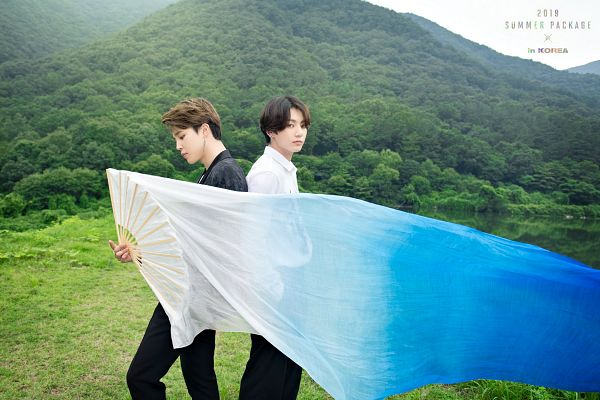 Tags: K-Pop, BTS, Jungkook, Park Jimin, Duo, English Text, Forest, Tree, Mound, Two Males, Fan, Veil