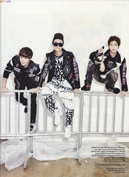 Tags: K-Pop, BTS, Park Jimin, Jin, Rap Monster, Black Pants, Crouching, Shoes, Korean Text, Black Jacket, Light Background, White Footwear