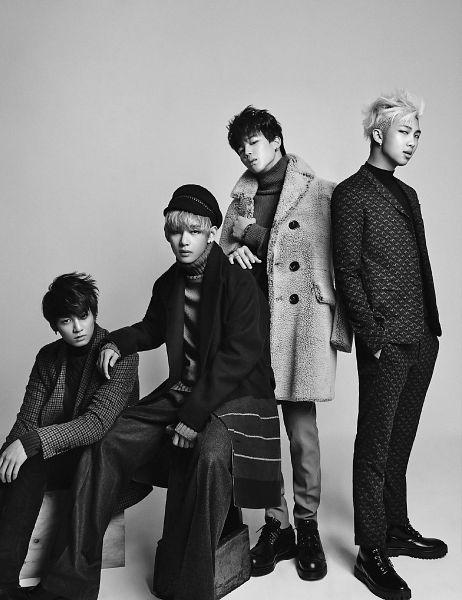 Tags: K-Pop, BTS, Jungkook, V (Kim Taehyung), Park Jimin, Rap Monster, Black Jacket, Suit, Gray Background, Serious, Hand In Pocket, Gray Pants
