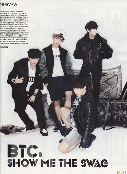 Tags: K-Pop, BTS, Suga, Jungkook, V (Kim Taehyung), Park Jimin, Kneeling, Light Background, Four Males, Shorts, White Background, Leather Jacket