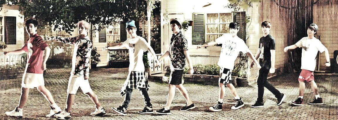 Tags: K-Pop, BTS, Suga, Jungkook, Jin, V (Kim Taehyung), Rap Monster, Park Jimin, J-Hope, Bare Legs, Black Pants, Full Group