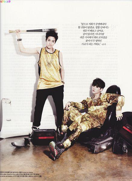 Tags: K-Pop, BTS, J-Hope, Suga, Hand In Pocket, Bracelet, Tank Top, Sitting On Chair, Boots, Black Pants, Baseball Bat, Sleeveless