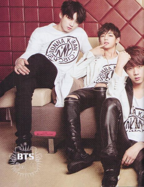 Tags: K-Pop, BTS, Jin, Jungkook, V (Kim Taehyung), Trio, Crossed Legs, Ring, Three Males, Leather Pants, Couch, Sitting On Couch