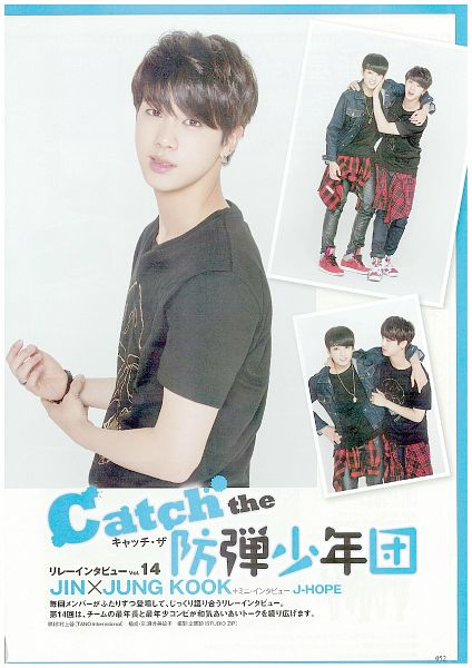 Tags: K-Pop, BTS, Jungkook, Jin, Short Sleeves, Eyeliner, Duo, Light Background, Make Up, White Background, Two Males, Hanryu Pia