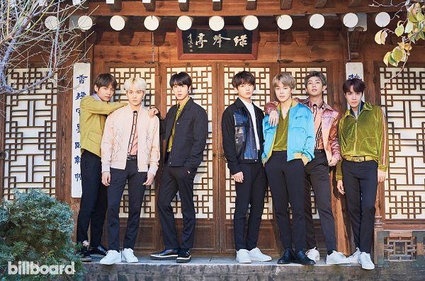 Tags: K-Pop, BTS, J-Hope, Suga, Jungkook, Jin, V (Kim Taehyung), Rap Monster, Park Jimin, Black Jacket, Black Outerwear, Pink Shirt