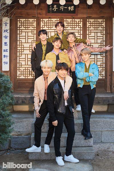 Tags: K-Pop, BTS, Jin, V (Kim Taehyung), Rap Monster, Park Jimin, J-Hope, Suga, Jungkook, Green Outerwear, White Footwear, Black Pants