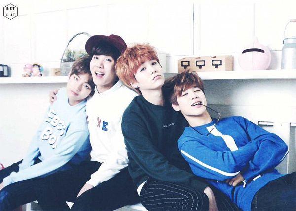 Tags: K-Pop, BTS, J-Hope, Suga, V (Kim Taehyung), Park Jimin, Glasses, Striped, Red Hair, Crossed Arms, Four Males, Hat