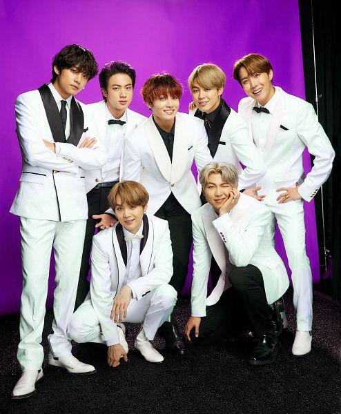 Tags: K-Pop, BTS, V (Kim Taehyung), Rap Monster, Park Jimin, J-Hope, Suga, Jungkook, Jin, Black Neckwear, Bow Tie, Full Group