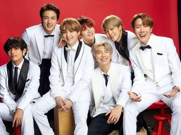 Tags: K-Pop, BTS, V (Kim Taehyung), Rap Monster, Park Jimin, J-Hope, Suga, Jungkook, Jin, White Outerwear, Red Background, Bow Tie