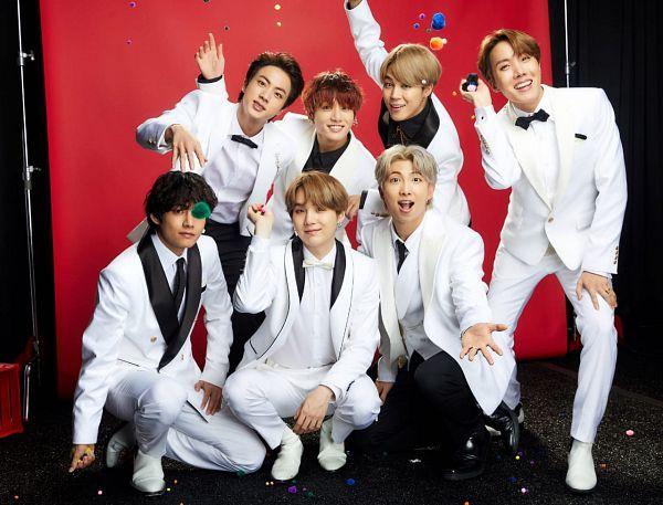 Tags: K-Pop, BTS, Jungkook, Jin, V (Kim Taehyung), Rap Monster, Park Jimin, J-Hope, Suga, Black Shirt, Blonde Hair, White Outerwear
