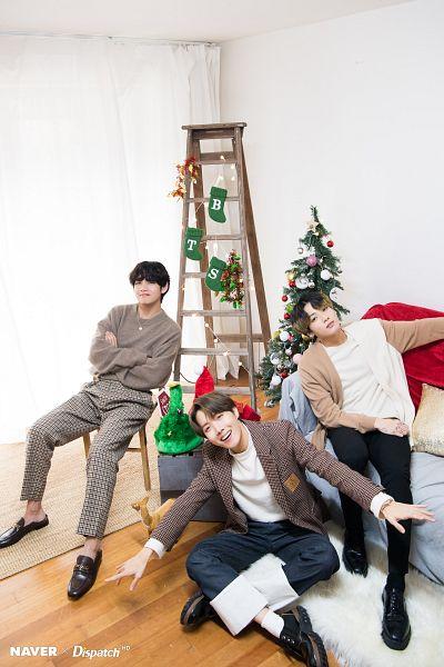 Tags: K-Pop, BTS, Jungkook, V (Kim Taehyung), J-Hope, Three Males, English Text, Trio, Christmas, Wavy Hair, Dispatch