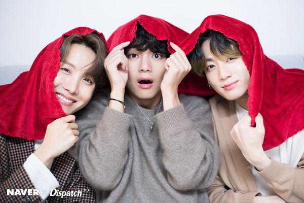 Tags: K-Pop, BTS, Jungkook, V (Kim Taehyung), J-Hope, English Text, Sweater, Black Eyes, Blanket, Trio, Three Males, Wavy Hair