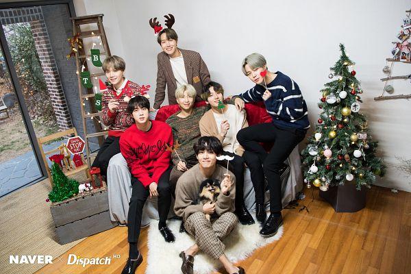 Tags: K-Pop, BTS, Jin, V (Kim Taehyung), Rap Monster, Park Jimin, J-Hope, Suga, Jungkook, Yeontan, Christmas Tree, Ladder