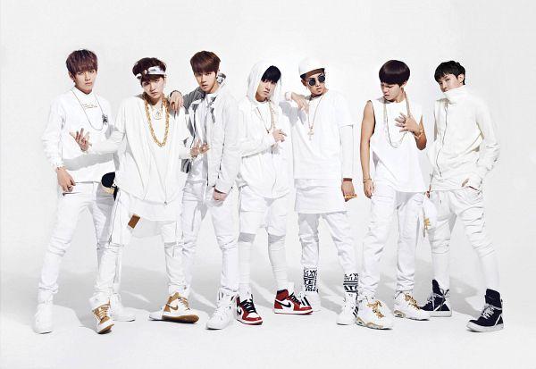 Tags: K-Pop, BTS, J-Hope, Suga, Jungkook, Jin, V (Kim Taehyung), Rap Monster, Park Jimin, White Background, Looking Down, Black Footwear