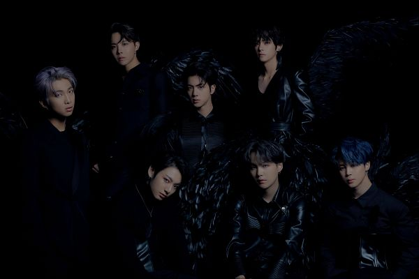 Tags: K-Pop, BTS, Park Jimin, J-Hope, Suga, Jungkook, Jin, V (Kim Taehyung), Rap Monster, Leather Shirt, Dark Background, Angel Wings