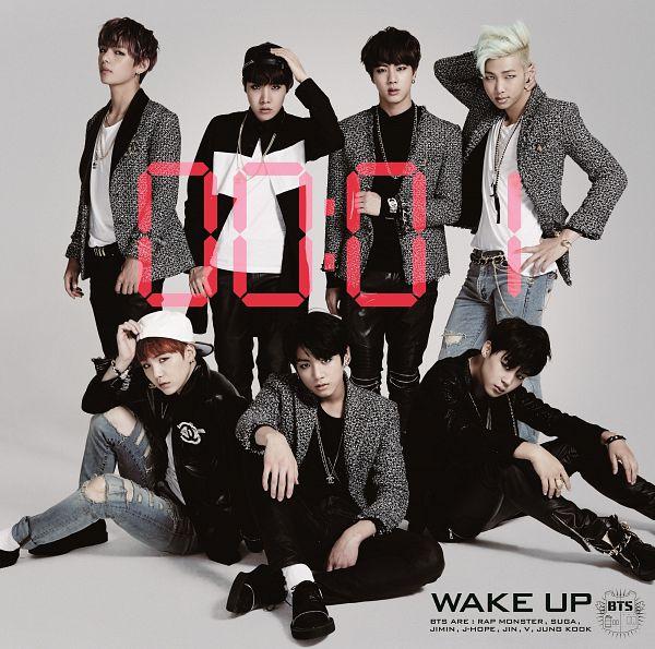 Tags: K-Pop, BTS, J-Hope, Suga, Jungkook, Jin, V (Kim Taehyung), Rap Monster, Park Jimin, Sitting On Ground, Jeans, Hand On Hat