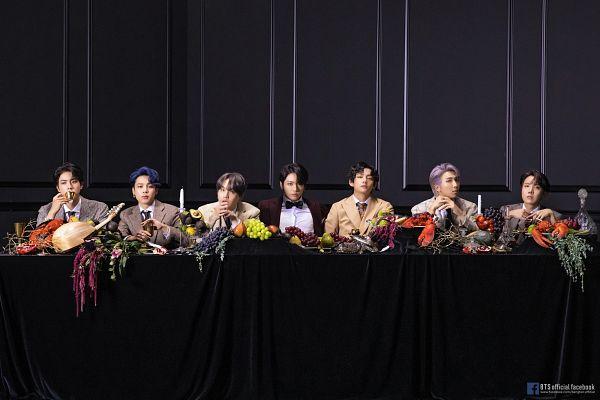 Tags: K-Pop, BTS, J-Hope, Suga, Jungkook, Jin, V (Kim Taehyung), Rap Monster, Park Jimin, Full Group, Brown Outerwear, Ring