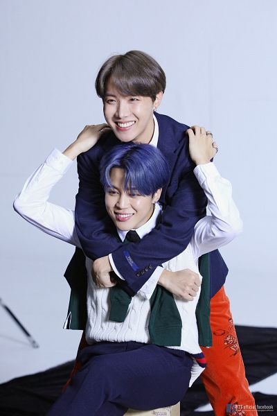 Tags: K-Pop, BTS, Park Jimin, J-Hope, Vest, Text: URL, Two Males, Ring, Duo, Orange Pants, Blue Hair, Hug