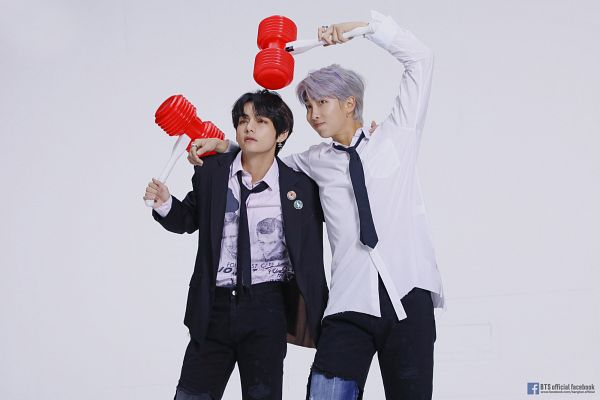 Tags: K-Pop, BTS, V (Kim Taehyung), Rap Monster, Loose Tie, Tie, Text: Artist Name, White Background, Two Males, Hammer, White Hair, Text: URL