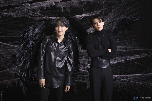 Tags: K-Pop, BTS, Jungkook, Suga, Dark Background, Feather, Tattoo, Leather Shirt, Grin, Wings, Angel Wings, Two Males