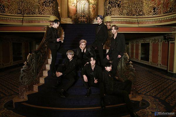 Tags: K-Pop, BTS, Black Swan, V (Kim Taehyung), Rap Monster, Park Jimin, J-Hope, Suga, Jungkook, Jin, Text: Artist Name, Sitting On Stairs
