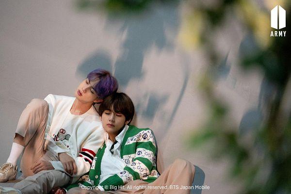 Tags: K-Pop, BTS, Jin, V (Kim Taehyung), Green Outerwear, Purple Hair, Sitting On Ground, Duo, Head On Shoulder, Brown Pants, Black Eyes, Sleeping