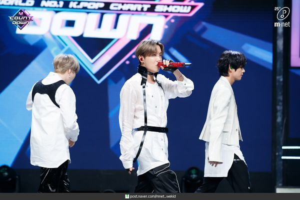 Tags: K-Pop, Television Show, BTS, V (Kim Taehyung), J-Hope, Suga, Black Pants, Back, White Jacket, White Outerwear, English Text, Three Males