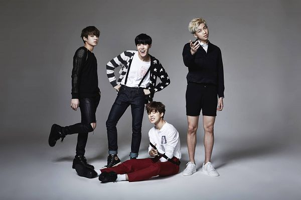 Tags: K-Pop, BTS, War Of Hormone, Rap Monster, Jungkook, Park Jimin, J-Hope, Four Males, Black Pants, Red Pants, Serious, Quartet