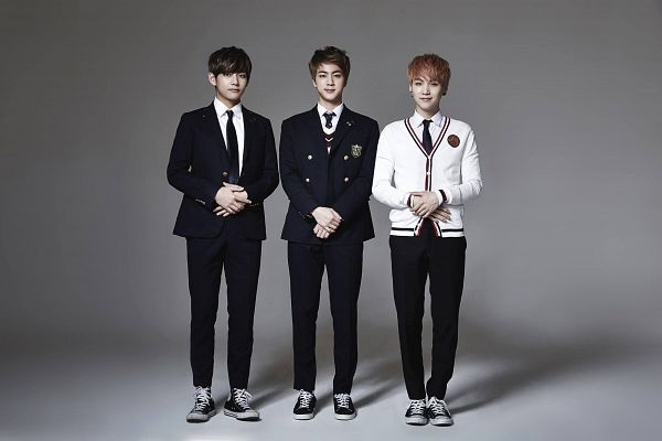 Tags: K-Pop, BTS, Just One Day, V (Kim Taehyung), Suga, Jin, Tie, Gray Background, Trio, Side By Side, Shoes, Serious