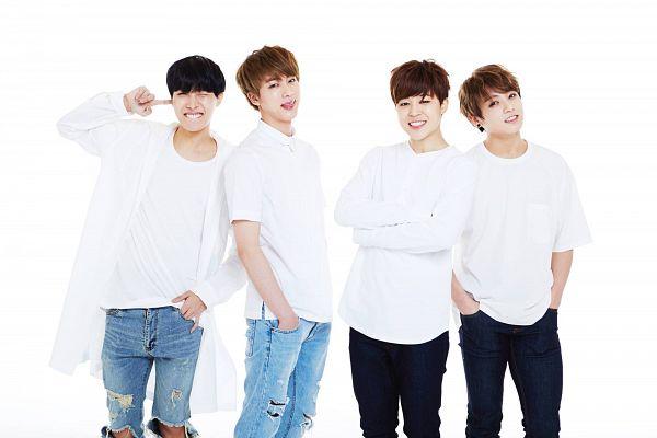 Tags: K-Pop, BTS, J-Hope, Jin, Jungkook, Park Jimin, Finger To Cheek, Hand In Pocket, Crossed Arms, Four Males, Grin, Blue Pants
