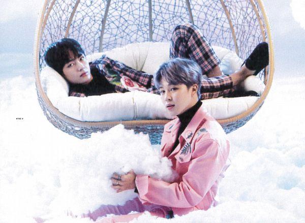 Tags: K-Pop, BTS, V (Kim Taehyung), Park Jimin, Black Eyes, Pink Jacket, Clouds, Laying Down, Plaided Print, Black Footwear, Floral Print, Shoes