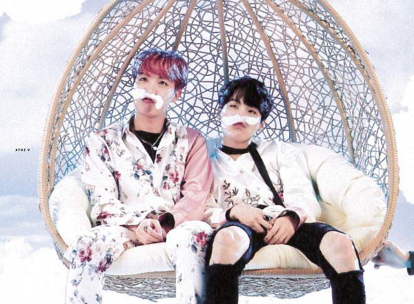 Tags: K-Pop, BTS, J-Hope, Suga, Red Hair, Ripped Pants, Black Pants, Floral Jacket, Tie, Floral Pants, Light Background, Chair