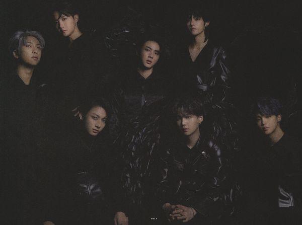 Tags: K-Pop, BTS, Jungkook, Jin, V (Kim Taehyung), Rap Monster, Park Jimin, J-Hope, Suga, Angel Wings, Black Background, Leather Shirt