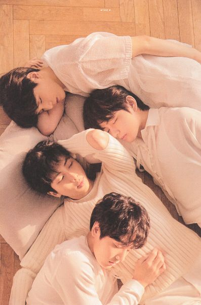 Tags: K-Pop, BTS, Suga, Rap Monster, Jungkook, V (Kim Taehyung), Quartet, One Arm Up, Sweater, Pillow, Hand On Stomach, Four Males