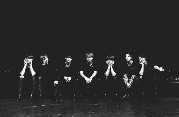 Tags: K-Pop, BTS, Suga, Jungkook, Jin, V (Kim Taehyung), Rap Monster, Park Jimin, J-Hope, Striped Shirt, Monochrome, Black Background