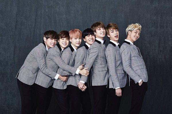 Tags: K-Pop, BTS, J-Hope, Suga, Jungkook, Jin, V (Kim Taehyung), Rap Monster, Park Jimin, Full Group, Red Hair, Hug From Behind
