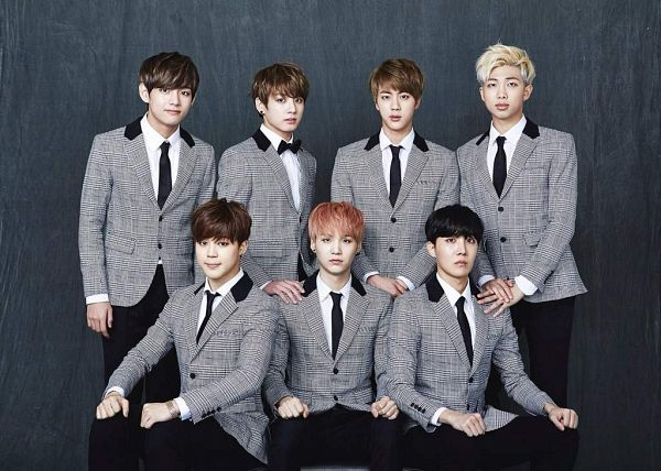 Tags: K-Pop, BTS, Park Jimin, J-Hope, Suga, Jungkook, Jin, V (Kim Taehyung), Rap Monster, Couch, Full Group, Red Hair
