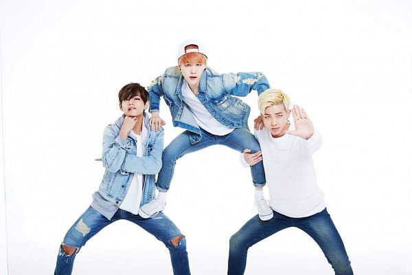 Tags: K-Pop, BTS, V (Kim Taehyung), Suga, Rap Monster, Red Hair, Blue Jacket, Ripped Pants, Blue Outerwear, Light Background, White Headwear, White Background