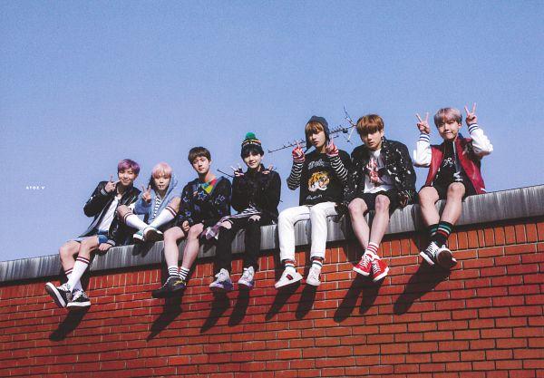 Tags: K-Pop, BTS, Jungkook, Jin, V (Kim Taehyung), Rap Monster, Park Jimin, J-Hope, Suga, Grin, White Footwear, Striped Shirt