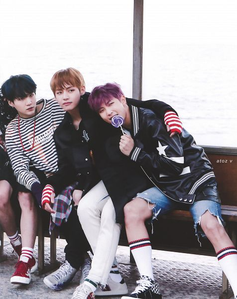 Tags: K-Pop, BTS, Suga, Rap Monster, V (Kim Taehyung), Black Eyes, Water, Sea, Lollipop, Plaided Print, Shoes, Star Print